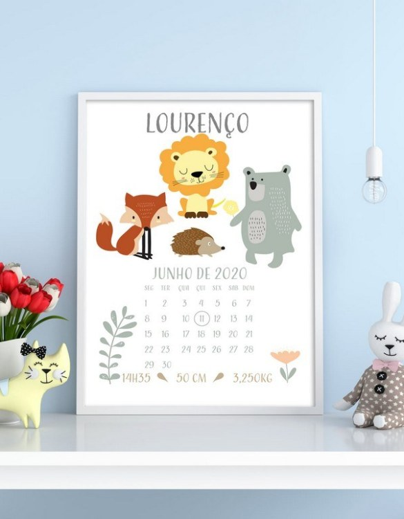 A wonderful momento of a child's birth, the Personalised Name Baby Birth Print is a beautiful nursery print with a newborn's birth statistics. This bright and fun personalised birth print will make a lovely addition to any nursery or bedroom wall.