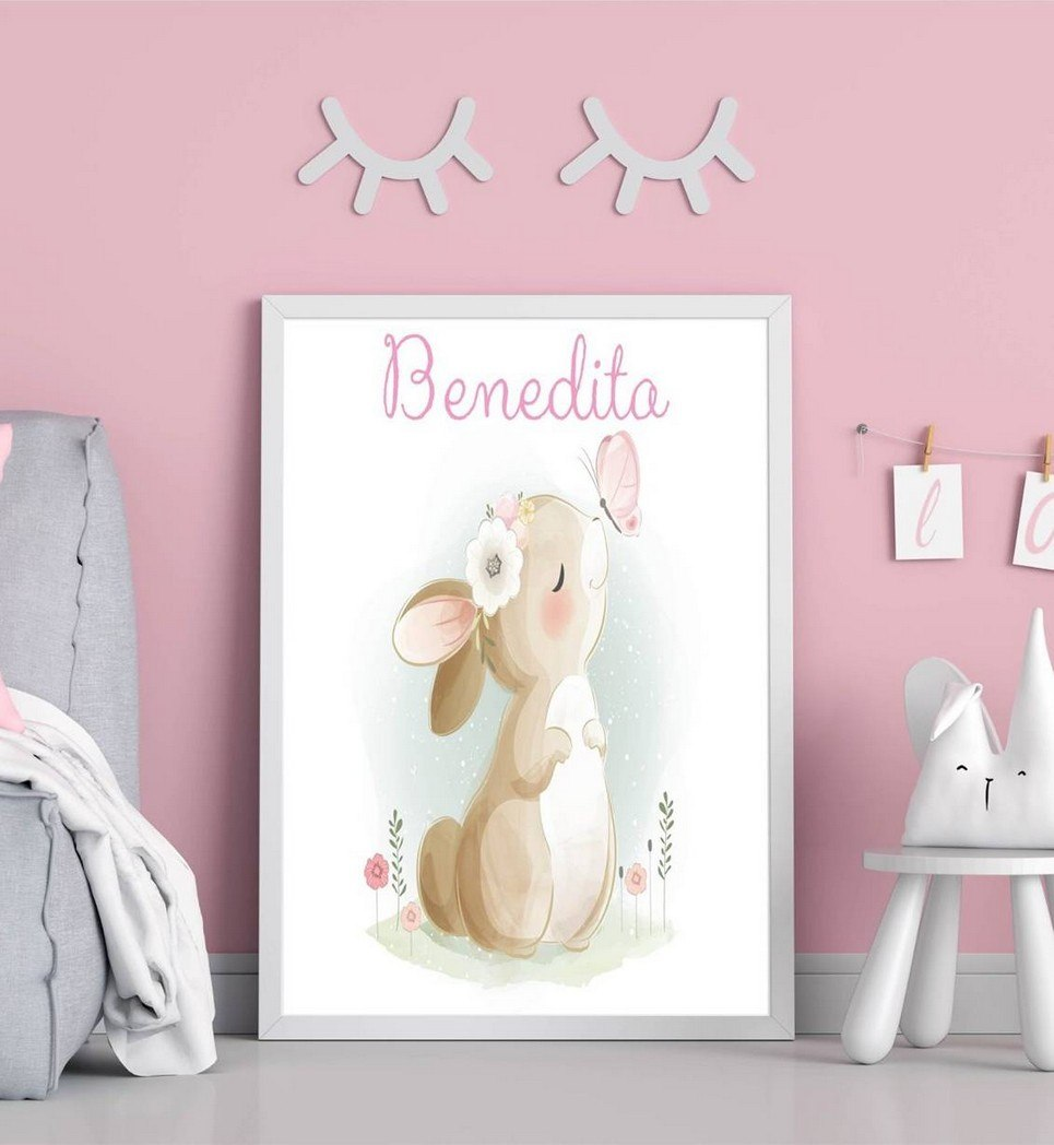 Personalised Name Bunny Children Illustration