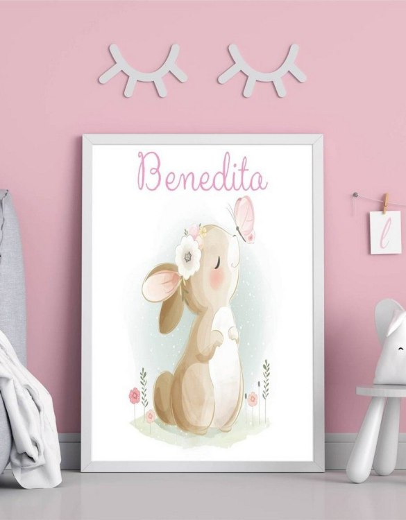 Perfect for a birthday or Christmas present, the Personalised Name Bunny Children Illustration is a really unique and eyecatching print that is loved by kids and adults. This print would make an ideal new baby gift or a very sweet birthday present for a baby or toddler.