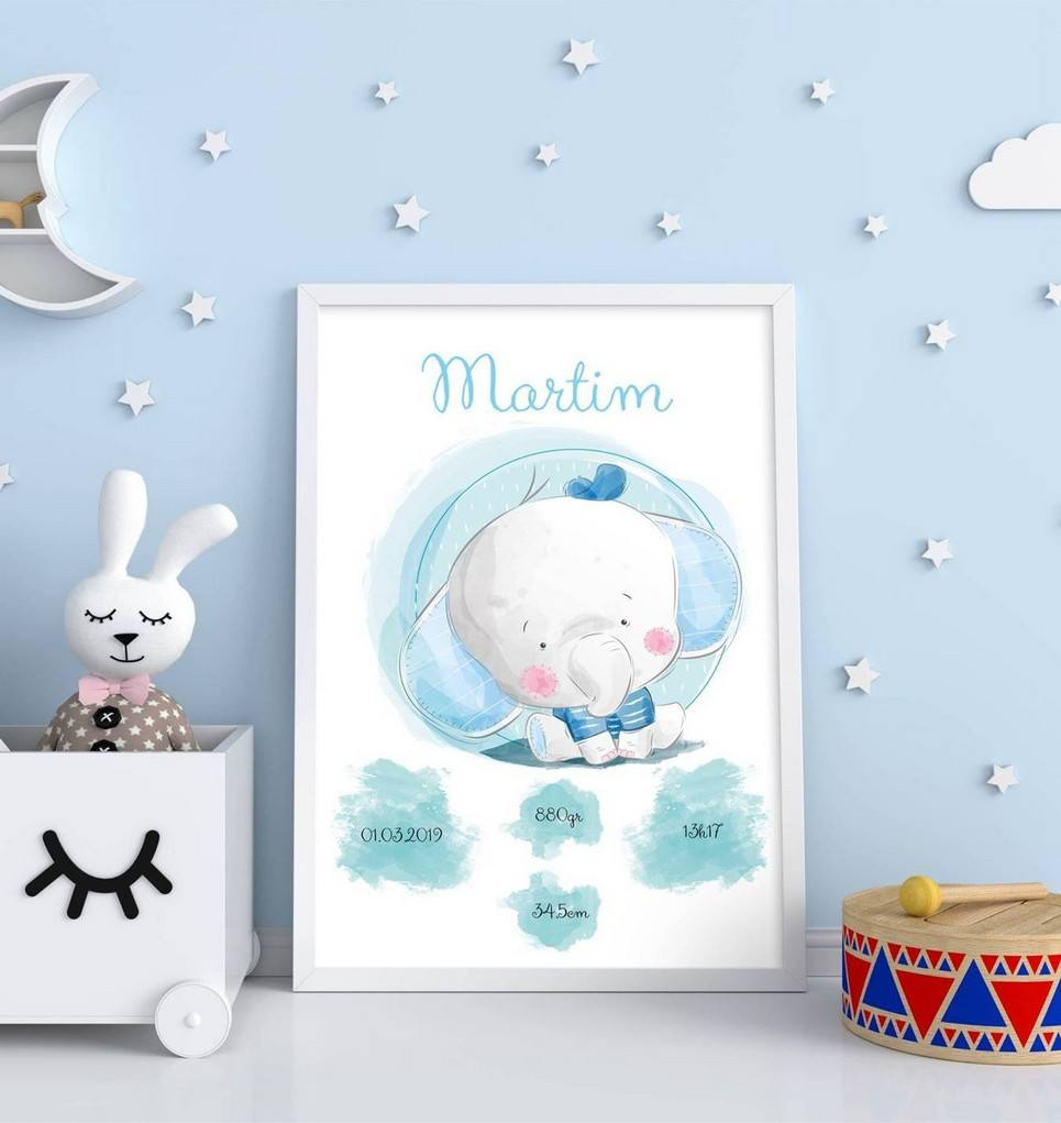 Personalised Name Elephant Baby Birth Print