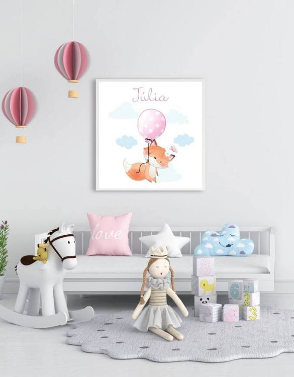 Perfect for a birthday or Christmas present, the Personalised Name Fox Children Illustration is a really unique and eyecatching print that is loved by kids and adults. This print would make an ideal new baby gift or a very sweet birthday present for a baby or toddler.