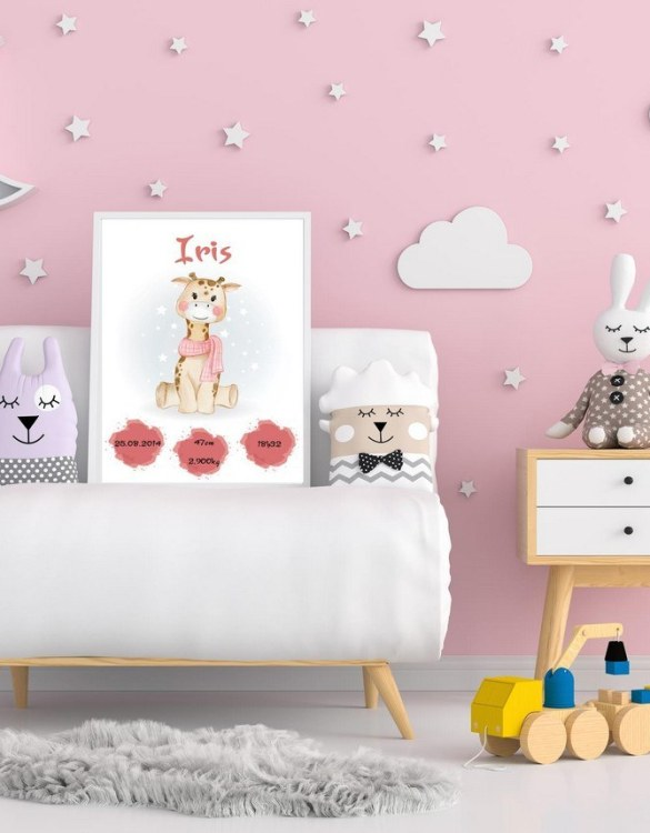 A wonderful momento of a child's birth, the Personalised Name Giraffe Baby Birth Print is a beautiful nursery print with a newborn's birth statistics. This bright and fun personalised birth print will make a lovely addition to any nursery or bedroom wall.