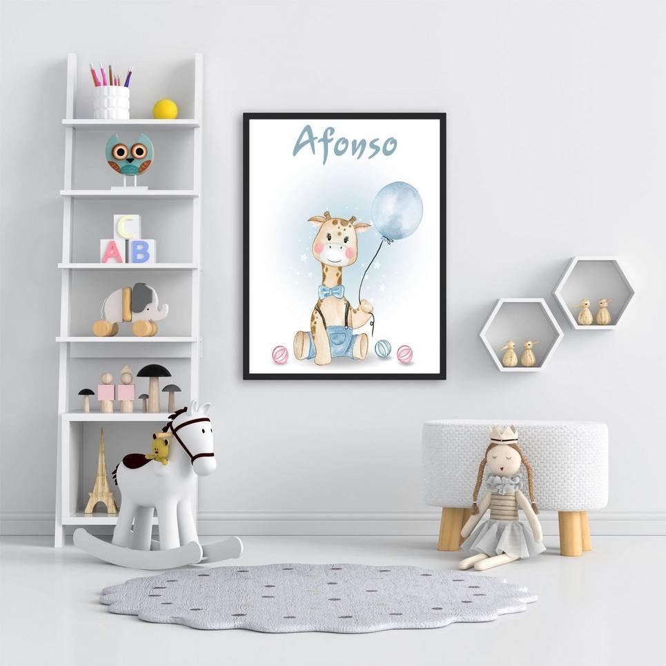 Personalised Name Giraffe Children Illustration