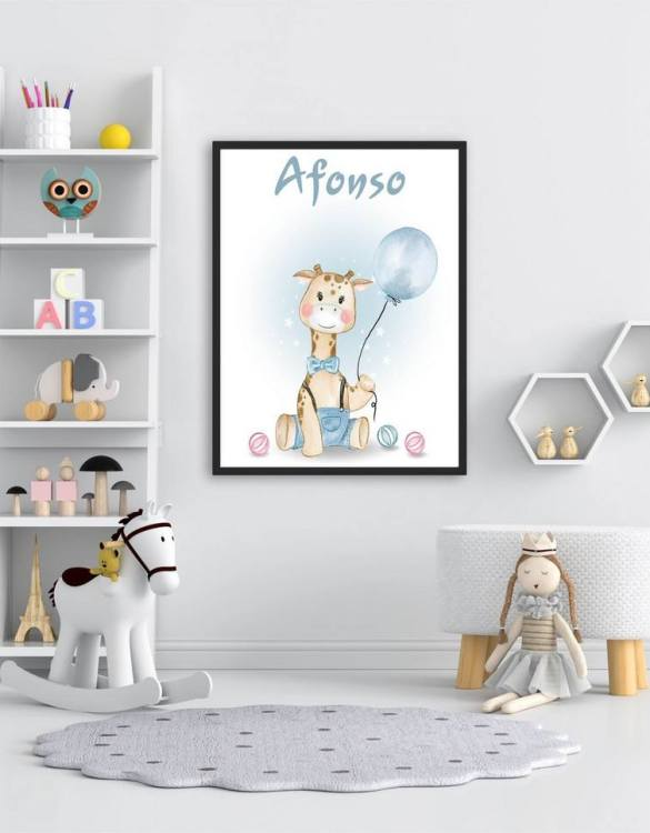 Perfect for a birthday or Christmas present, the Personalised Name Giraffe Children Illustration is a really unique and eyecatching print that is loved by kids and adults. This print would make an ideal new baby gift or a very sweet birthday present for a baby or toddler.