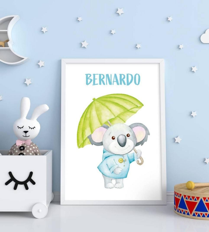 Personalised Name Koala Children Illustration