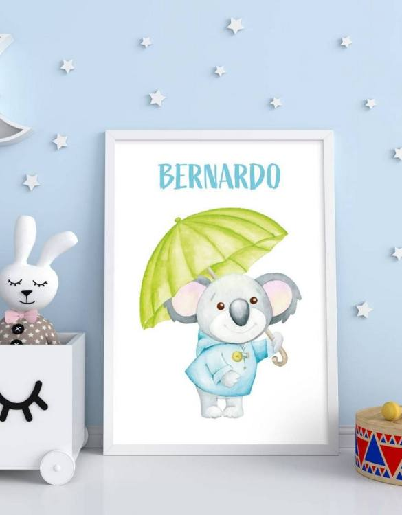 Perfect for a birthday or Christmas present, the Personalised Name Koala Children Illustration is a really unique and eyecatching print that is loved by kids and adults. This print would make an ideal new baby gift or a very sweet birthday present for a baby or toddler.