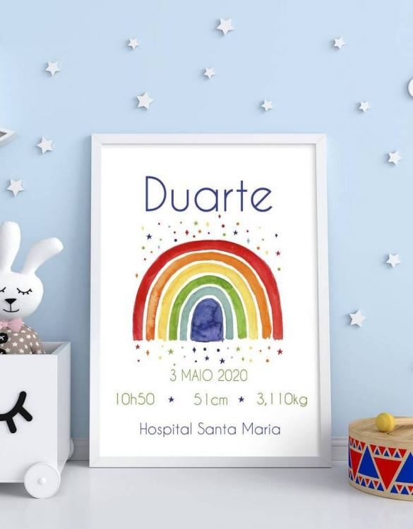 A wonderful momento of a child's birth, the Personalised Name Rainbow Baby Birth Print is a beautiful nursery print with a newborn's birth statistics. This bright and fun personalised birth print will make a lovely addition to any nursery or bedroom wall.