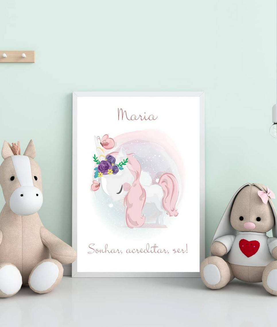 Personalised Name Sweet Unicorn Children Illustration