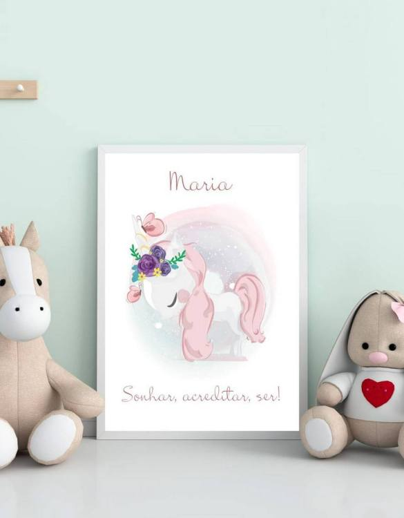 Perfect for a birthday or Christmas present, the Personalised Name Sweet Unicorn Children Illustration is a really unique and eyecatching print that is loved by kids and adults. This print would make an ideal new baby gift or a very sweet birthday present for a baby or toddler.