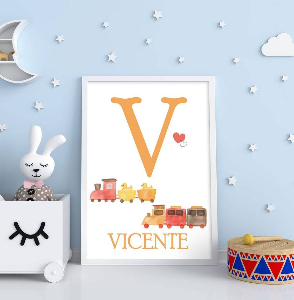 Personalised Name Train Children Illustration