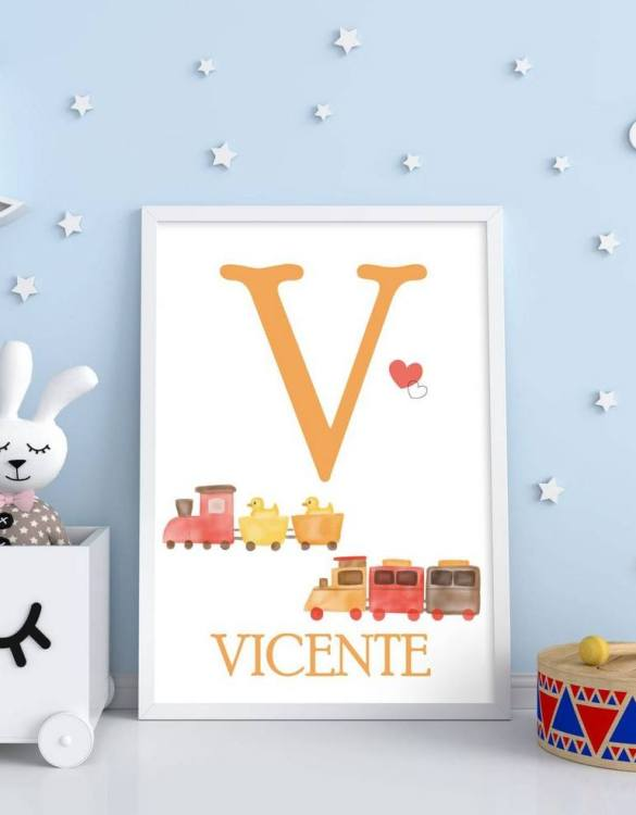 Perfect for a birthday or Christmas present, the Personalised Name Train Children Illustration is a really unique and eyecatching print that is loved by kids and adults. This print would make an ideal new baby gift or a very sweet birthday present for a baby or toddler.