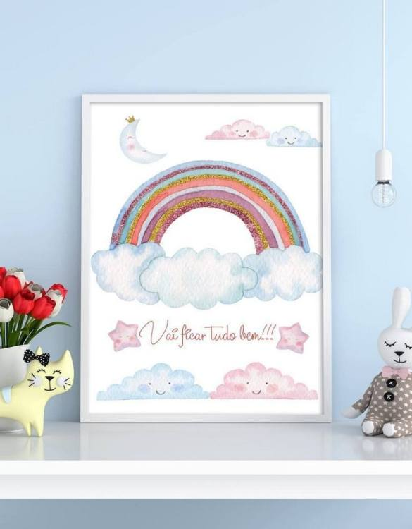 Perfect for a birthday or Christmas present, the Rainbow Decorative Children Illustration is a really unique and eyecatching print that is loved by kids and adults. This print would make an ideal new baby gift or a very sweet birthday present for a baby or toddler.