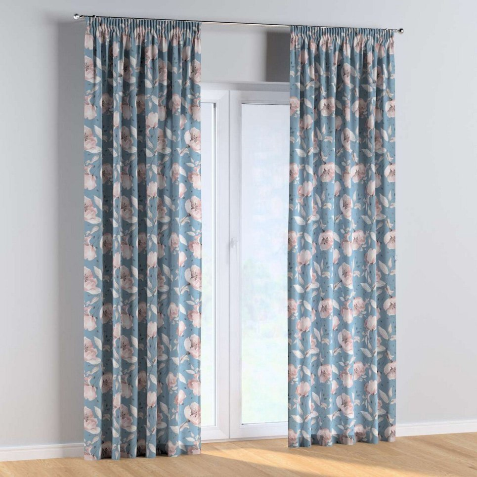 Rose Lagoon Pencil Pleat Kids Curtains