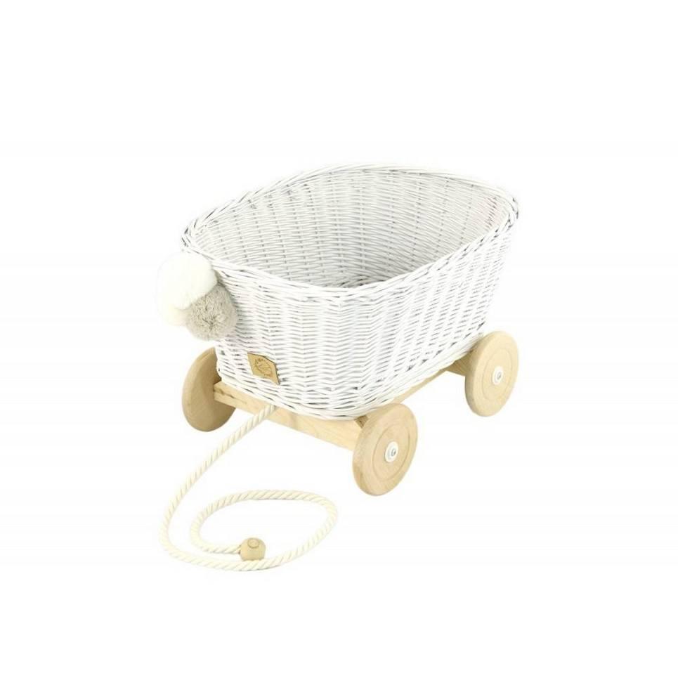White Wicker Pull Cart