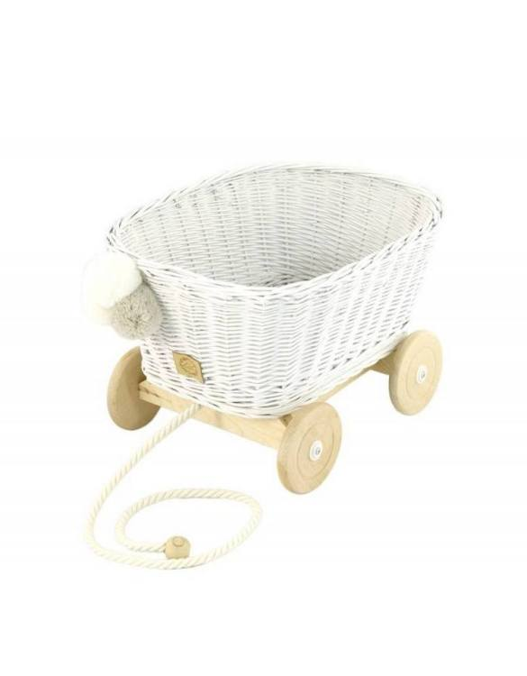 A healthy alternative to other toys, the White Wicker Pull Cart is an artistic handicraft with perfectly selected details. The wicker stroller will not only be a great toy, but also an extraordinary decoration for a child's room.