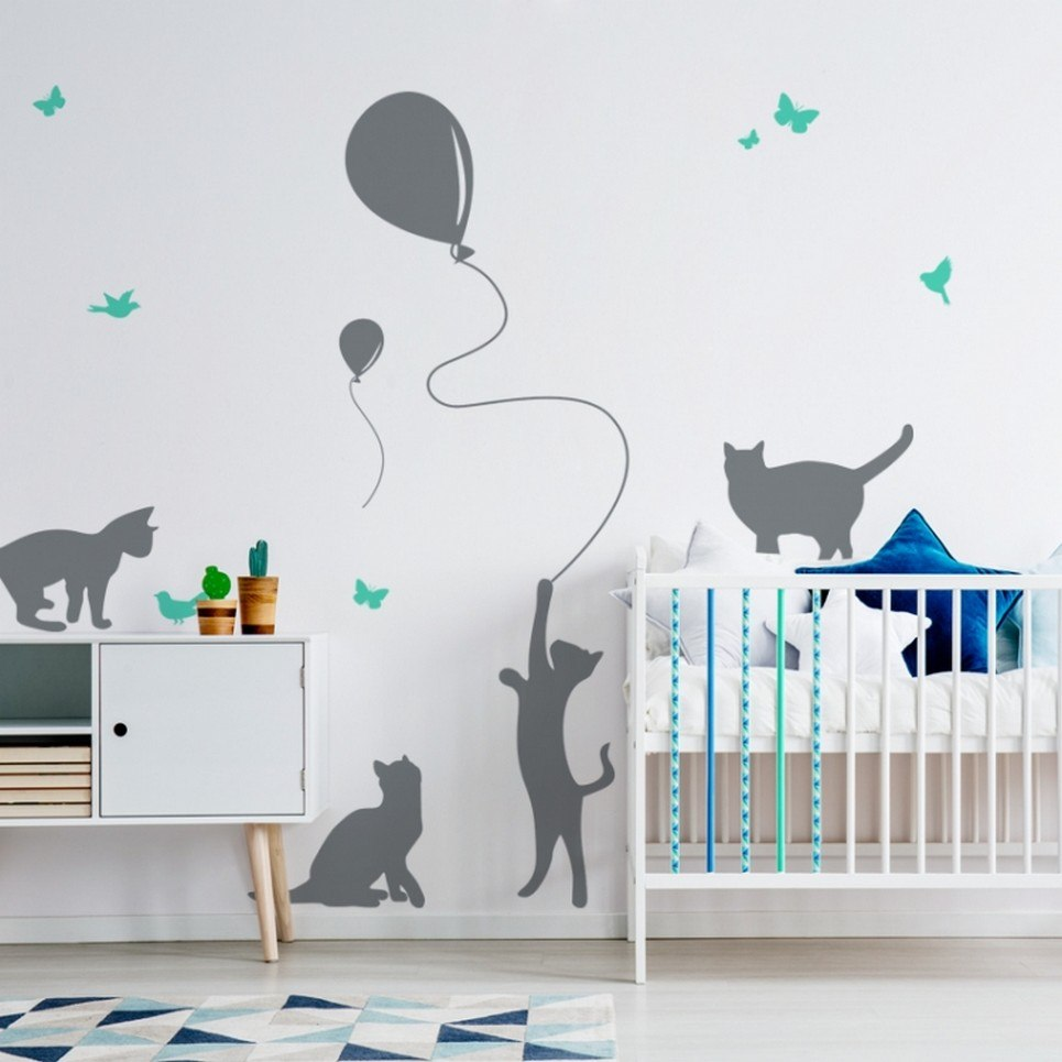 Cats with a Balloon Children's Wall Sticker