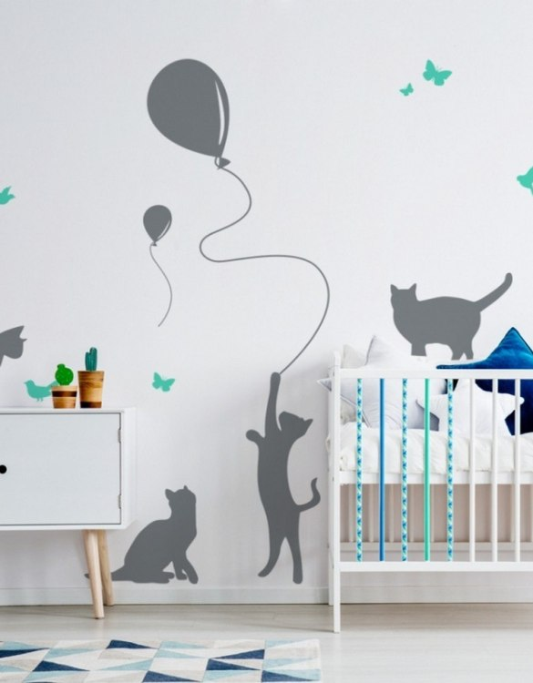 A beautiful scene for children's rooms and nurseries, the Cats with a Balloon Children's Wall Sticker is the perfect addition to any empty space (like walls or furniture). These wall stickers provide a flexible and cost-effective way to decorate your home.