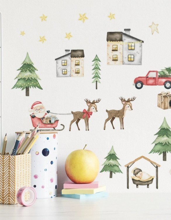 A beautiful scene for children's rooms and nurseries, the Christmas Season Children's Wall Sticker is the perfect addition to any empty space (like walls or furniture). These wall stickers provide a flexible and cost-effective way to decorate your home.