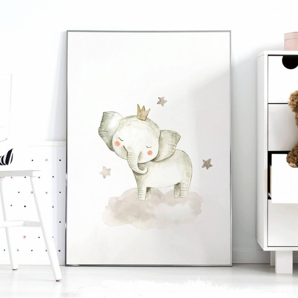 Elephant and Stars Children's Poster