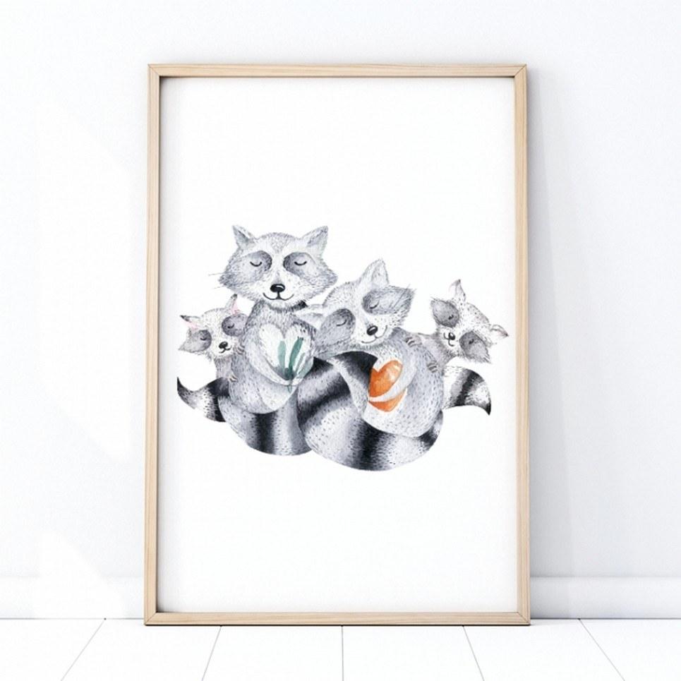 Family of Raccoons Children's Poster