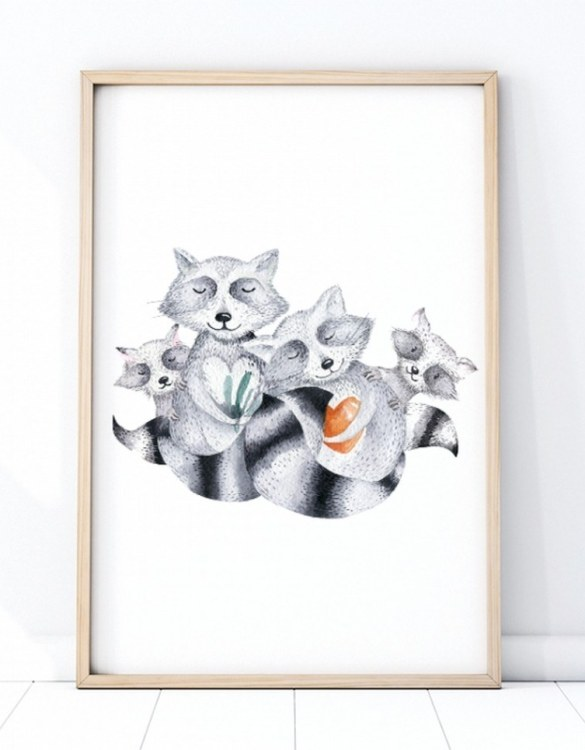 A unique keepsake that will create enchanting memories, the Family of Raccoons Children's Poster is a really unique and eyecatching print that is loved by kids and adults. Encourage their wild side with this fun print. Designed in a playful font, they will make a great addition to any nursery, child's room, or playroom.