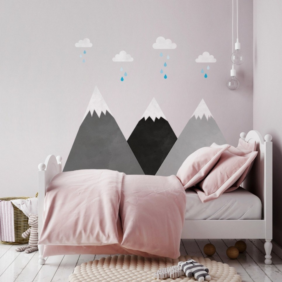Gray Mountains and Clouds Children's Wall Sticker