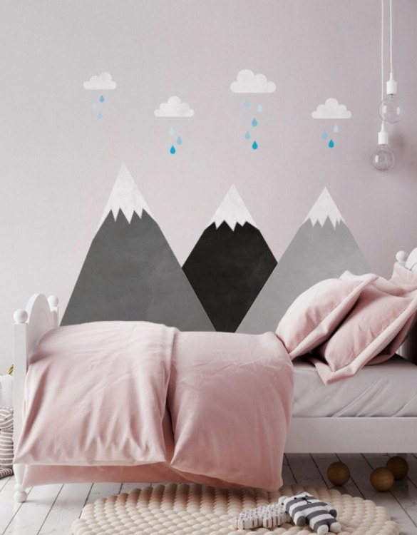 A beautiful scene for children's rooms and nurseries, the Gray Mountains and Clouds Children's Wall Sticker is the perfect addition to any empty space (like walls or furniture). These wall stickers provide a flexible and cost-effective way to decorate your home.