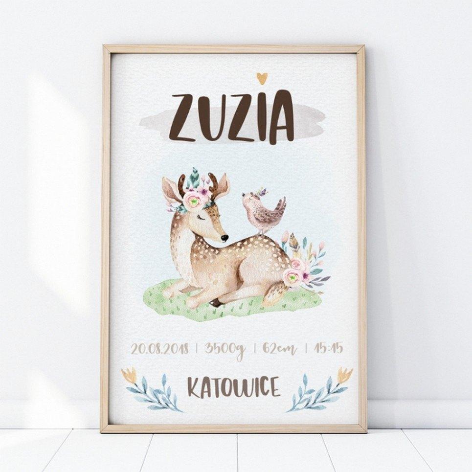 Personalised Deer Baby Birth Print