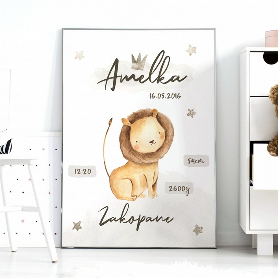 Personalised King Lion Baby Birth Print