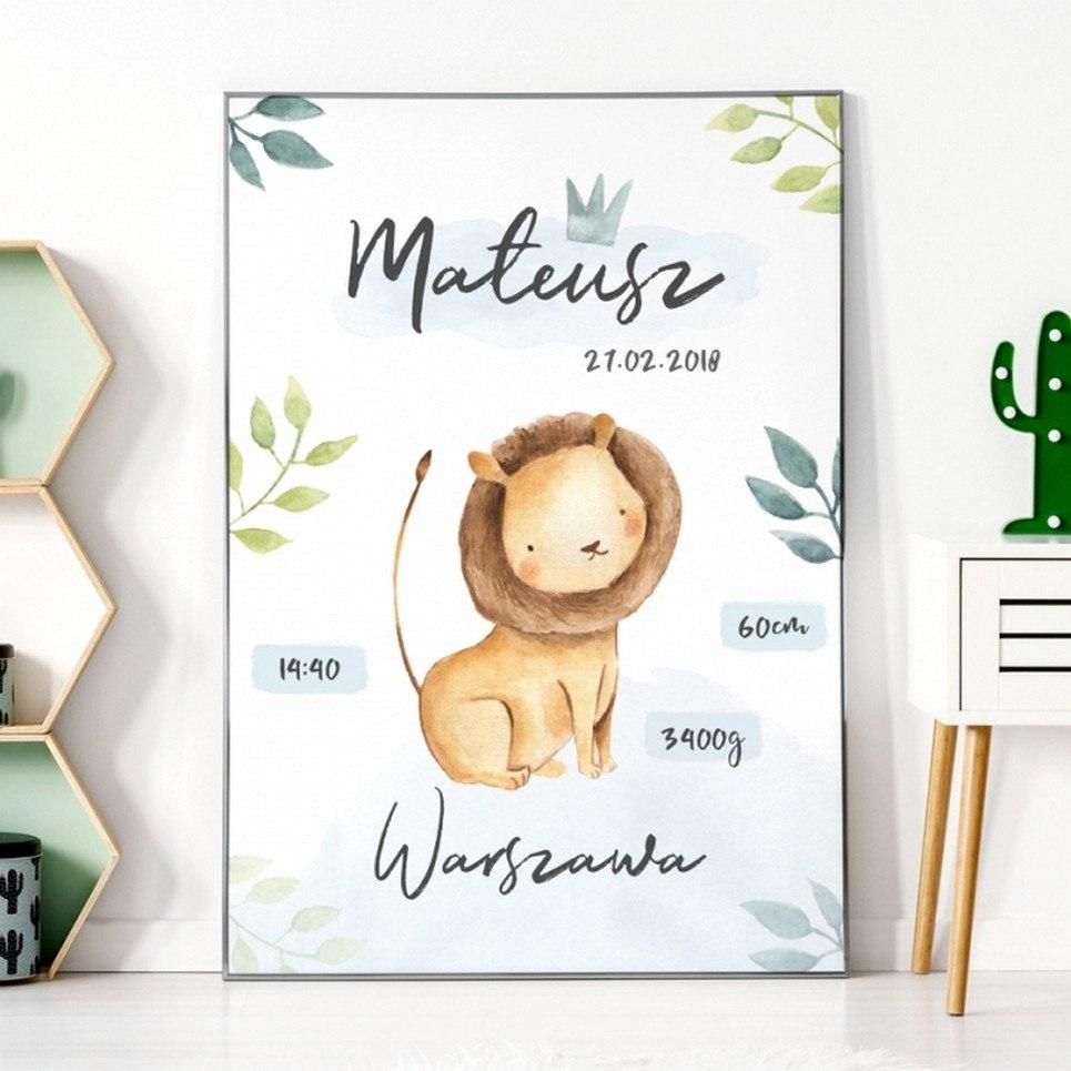 Personalised Lion Baby Birth Print