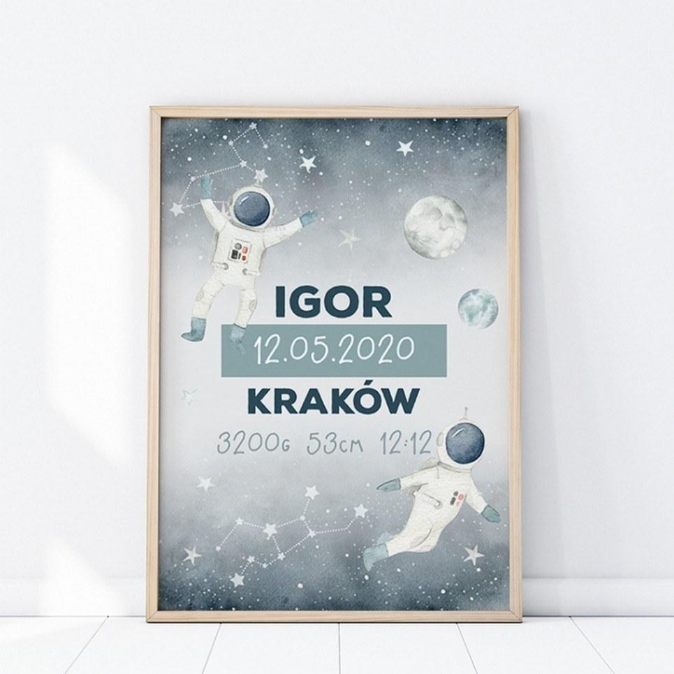 Personalised Space Baby Birth Print