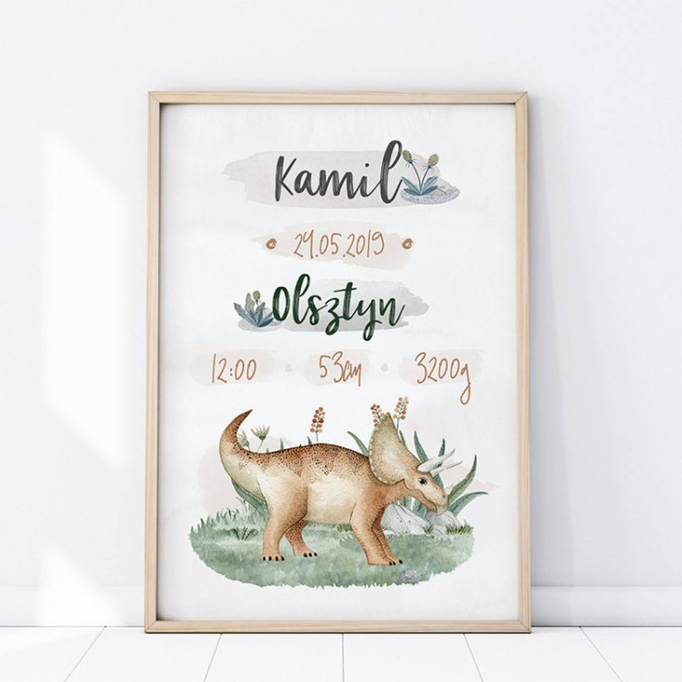 Personalised Triceratops Baby Birth Print