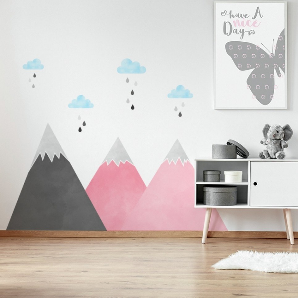 Pink Mountains and Clouds Children's Wall Sticker