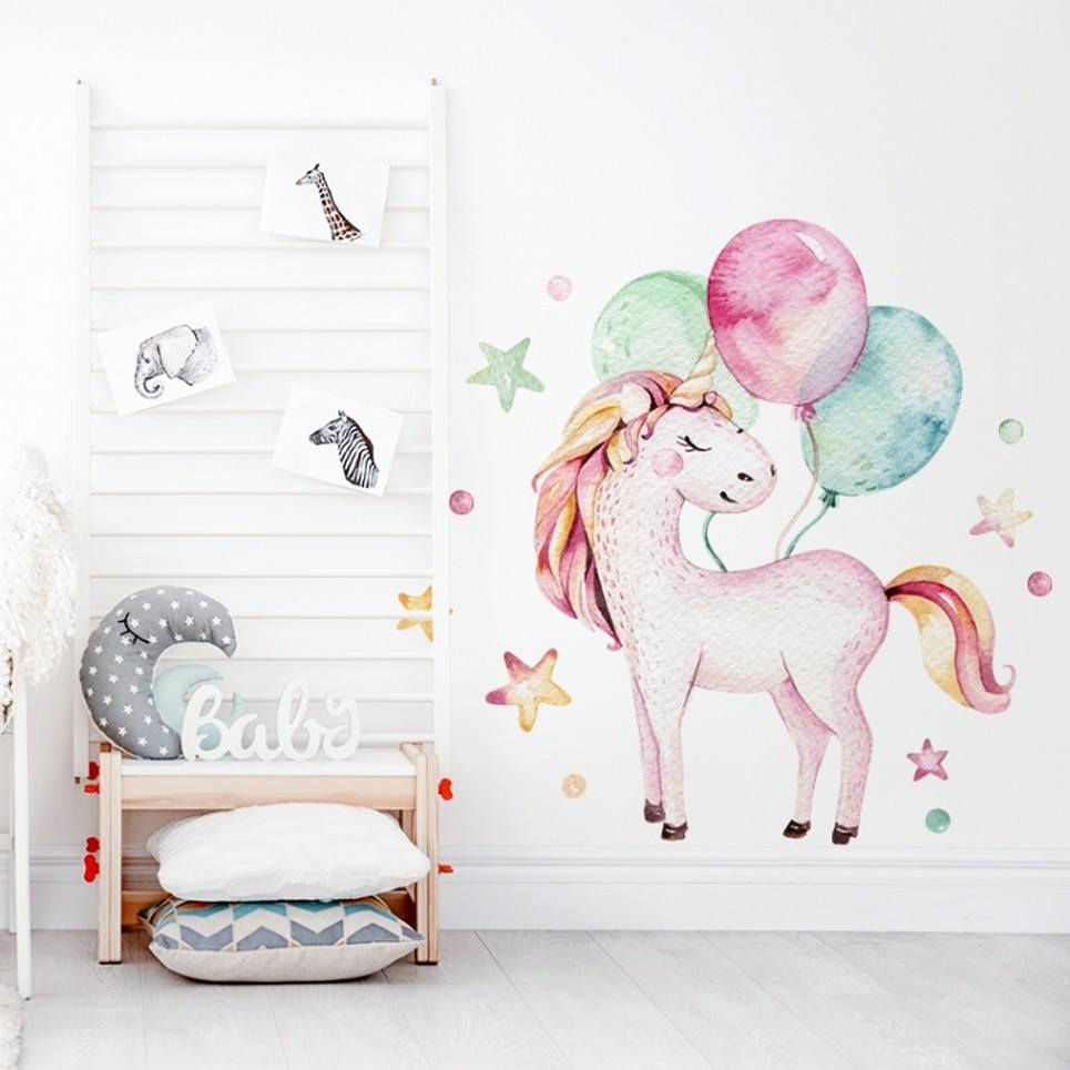 Unicorn with Balloons Children's Wall Sticker