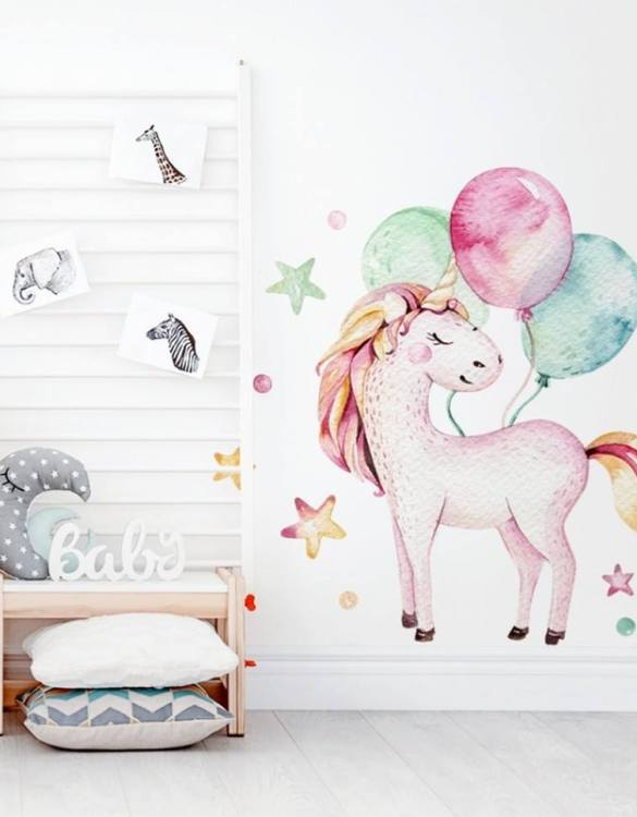 A beautiful scene for children's rooms and nurseries, the Unicorn with Balloons Children's Wall Sticker is the perfect addition to any empty space (like walls or furniture). These wall stickers provide a flexible and cost-effective way to decorate your home.