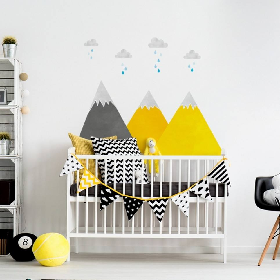Yellow Mountains and Clouds Children's Wall Sticker