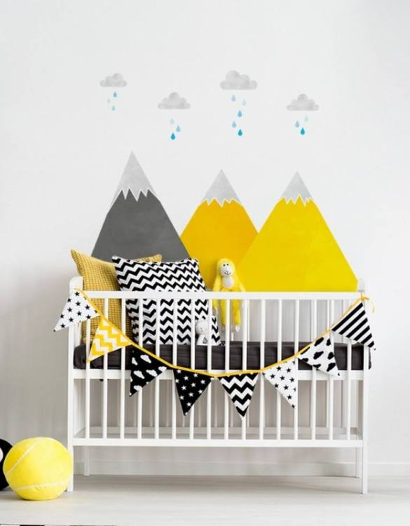 A beautiful scene for children's rooms and nurseries, the Yellow Mountains and Clouds Children's Wall Sticker is the perfect addition to any empty space (like walls or furniture). These wall stickers provide a flexible and cost-effective way to decorate your home.