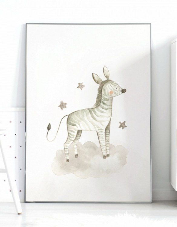 A unique keepsake that will create enchanting memories, the Zebra and Stars Children's Poster is a really unique and eyecatching print that is loved by kids and adults. Encourage their wild side with this fun print. Designed in a playful font, they will make a great addition to any nursery, child's room, or playroom.