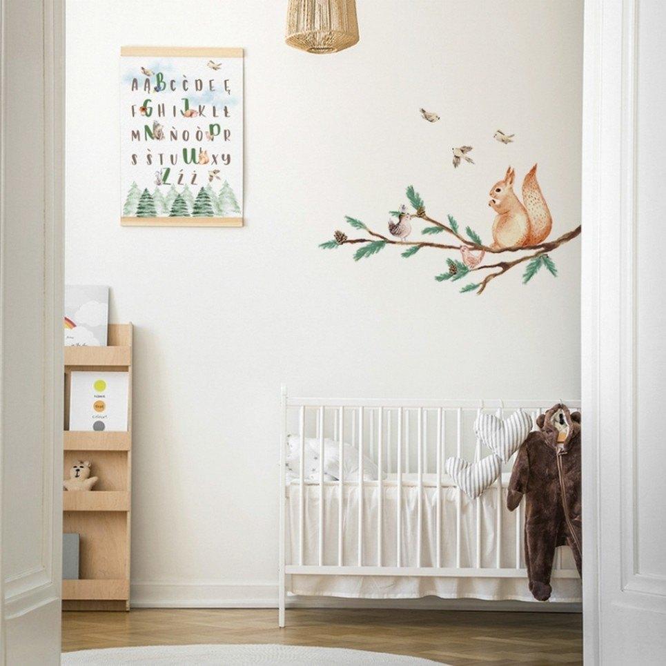 Branch with Squirrel Children's Wall Sticker