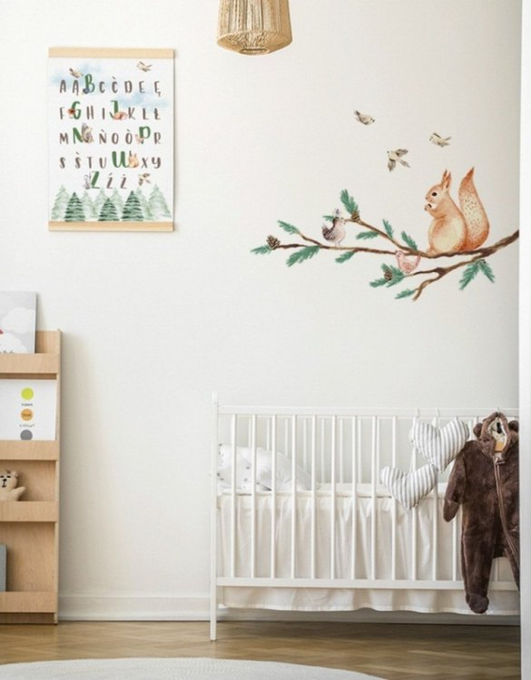 A beautiful scene for children's rooms and nurseries, the Branch with Squirrel Children's Wall Sticker is the perfect addition to any empty space (like walls or furniture). These wall stickers provide a flexible and cost-effective way to decorate your home.