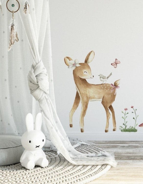 A beautiful scene for children's rooms and nurseries, the Cute Deer Children's Wall Sticker is the perfect addition to any empty space (like walls or furniture). These wall stickers provide a flexible and cost-effective way to decorate your home.