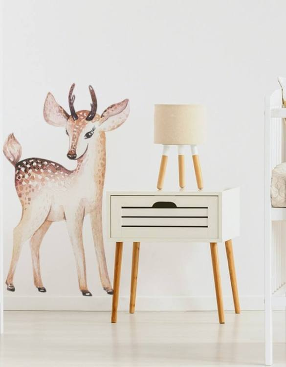 A beautiful scene for children's rooms and nurseries, the Deer Children's Wall Sticker is the perfect addition to any empty space (like walls or furniture). These wall stickers provide a flexible and cost-effective way to decorate your home.