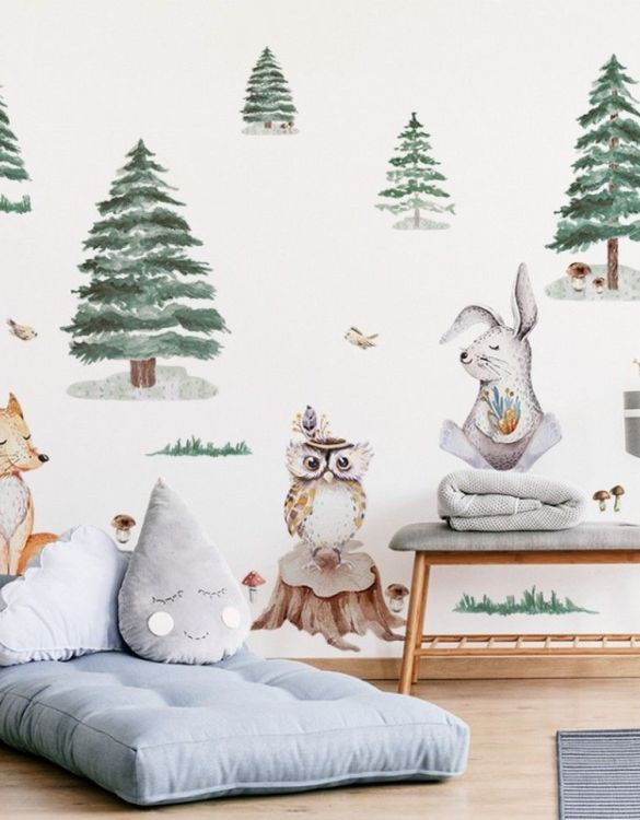 A beautiful scene for children's rooms and nurseries, the Fox Hare Owl Children's Wall Sticker is the perfect addition to any empty space (like walls or furniture). These wall stickers provide a flexible and cost-effective way to decorate your home.