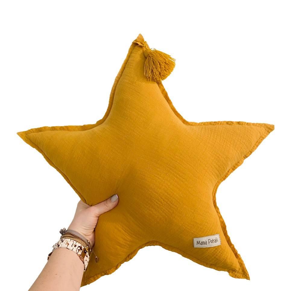 Muslin Ochre Star Pillow