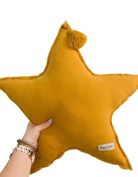 Perfect for any little one or teenager's bedroom, the Muslin Ochre Star Pillow is great for finishing up your little one's playroom. Your kids will love it! This children's cushion is super soft and super cute. A beautiful addition to any nursery or kids' room.