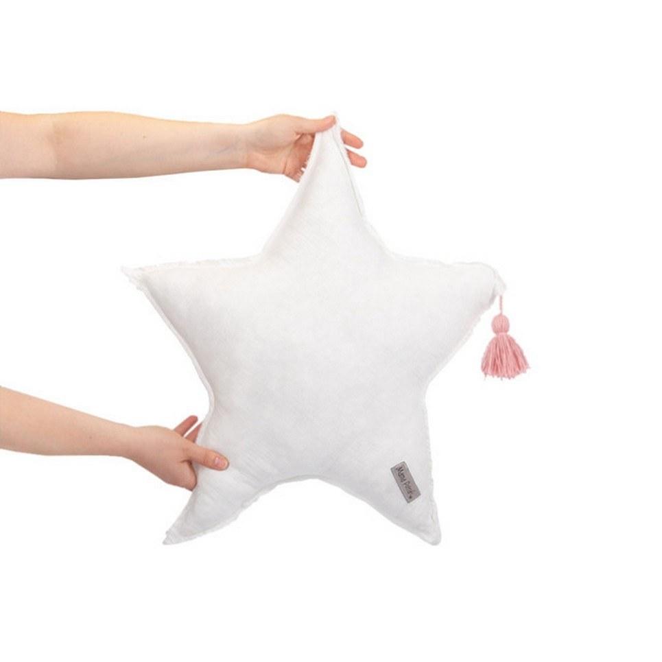 Muslin White Star Pillow