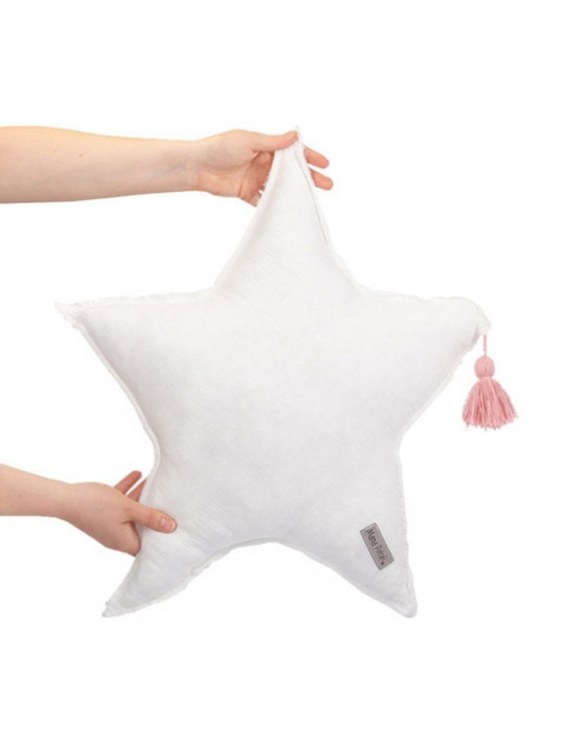 Perfect for any little one or teenager's bedroom, the Muslin White Star Pillow is great for finishing up your little one's playroom. Your kids will love it! This children's cushion is super soft and super cute. A beautiful addition to any nursery or kids' room.