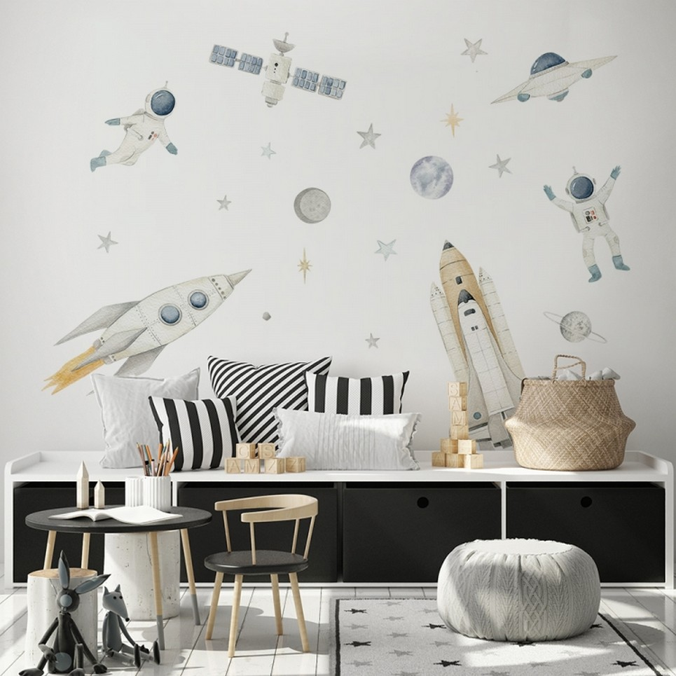 Rockets and Astronauts Children's Wall Sticker