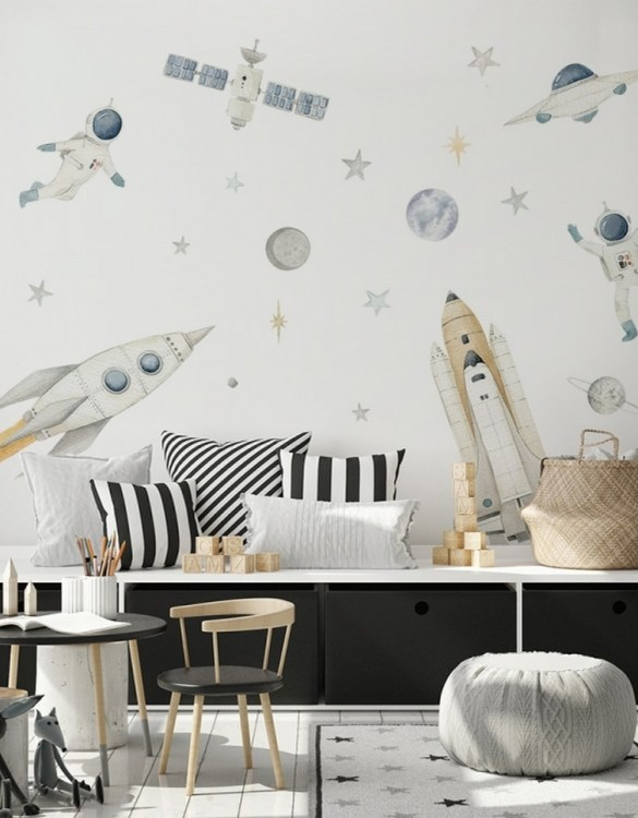 A beautiful scene for children's rooms and nurseries, the Rockets and Astronauts Children's Wall Sticker is the perfect addition to any empty space (like walls or furniture). These wall stickers provide a flexible and cost-effective way to decorate your home.