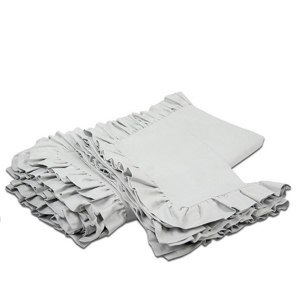 Ruffle Bedding Set Light Gray